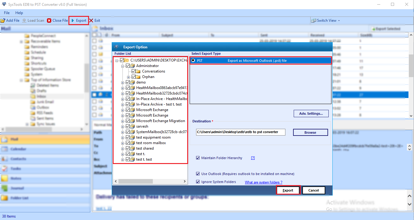export exchange to pst outlook